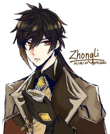 Quick good luck Zhongli doodle from #Genshin_Impact, because I want this Jiji to come home