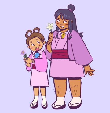 flower feys! [id: an illustration of pearl and maya fey on a pale lavender background, holding a Tatarinow's aster and a